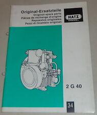 Teilekatalog / Original spare parts Hatz Diesel Motor 2G40 Stand ca. 2001