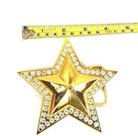 BELT BUCKLE STAR COWBOY GOLD STONE MEN WOMEN WESTERN HIGH QUALITY