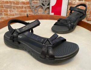 Skechers Black GOwalk On-the-Go 600 Multi Strap Sandals Sheen New