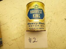#2 VINTAGE HARVEST KING MOTOR OIL CONTAINER JAR CAN ANTIQUE CAR MEMORABILIA