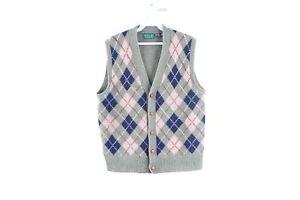 Vintage 80s Rockabilly Mens Medium Shetland Wool Argyle Cardigan Sweater Vest