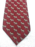 HUNTINGTON MENS TIE RED WITH BEIGE AND WHITE ZEBRAS  3.75 X 60