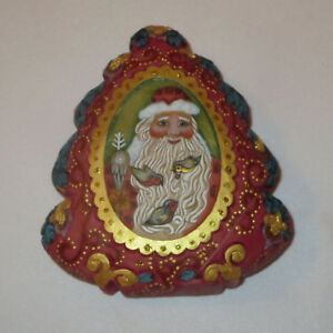 Santa Claus G DeBrekht Trinket Box Birds Tree Shape New Retired Stock 2006