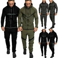 Mens Tracksuit Set Running Gym Hoodie Top Bottoms Jogging Joggers Trousers Tops