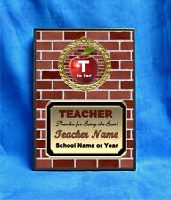 Teacher Thanks Custom Personalized Award Plaque Gift School Brick Apple