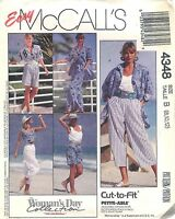 McCall's Pattern # 4348 Misses Shirt Top Pants and Shorts Size 8-10-12 Uncut