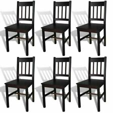 Set of 6 Dining Chairs Pinewood Dark Brown Home Kitchen Seating Furniture