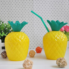 New Plastic Pineapple DRINK Cups Luau Beach Tropical Party Barware Free Shipping