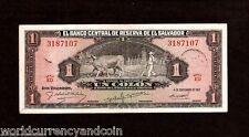 EL SALVADOR 1 COLON P105 1957 Ox ED PREFIX LATINO CURRENCY MONEY BILL BANK NOTE