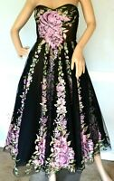 New NWT $6,500 MARCHESA Embroidered Floral Couture Cocktail Dress IT 42 / US 6