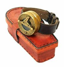 Nautical Antique Brass Watch Style Compass with Leather Case Collectibles