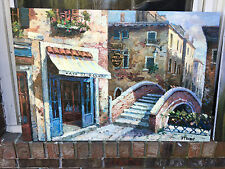 """Oil Painting- Euopean Cityscape/Street Scene 24""""x36"""" New-Stretched"""