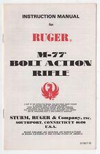 1979 RUGER M-77 Bolt Action Rifle INSTRUCTION MANUAL Firearms GUN Guns WEAPONS