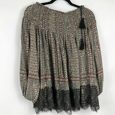 Hazel Anthropologie Womens Tunic Topic Sz Small Long Sleeve Gathered Neck Tassel
