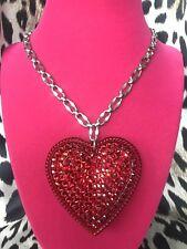 Tarina Tarantino HUGE Big Love Red Lucite Heart Swarovski Crystal Necklace