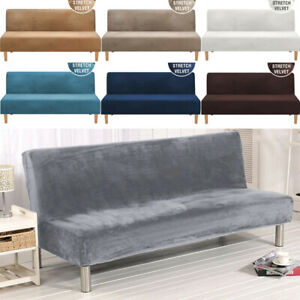 Stretch Velvet Armless Sofa Bed Cover Folding Elastic Couch Slipcover 2-3 Seater