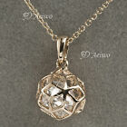 9K ROSE GOLD FILLED MADE WITH SWAROVSKI CRYSTAL PENDANT FILIGREE BALL NECKLACE