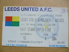 Ticket: LEEDS UNITED v WIMBLEDON/WOLVES, FA CUP 6th Round , 7 March 1998
