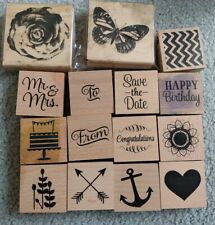 LOT of 15 Mixed Wood Mount Rubber Stamps Party Birthday Wedding Flowers