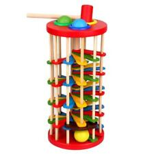 Knock The Ball Fall Rolling Ladder Toys Wooden with Hammer Kids Educational Toy
