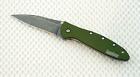1660OLBW Kershaw Leek Knife plain Blade Olive handle *New Blem* assisted opener