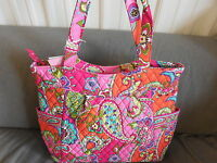Vera Bradley Pink Swirls Pleated Zip Top Tote Purse--New with tags--10812-179
