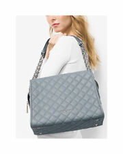 NWT MICHAEL MICHAEL KORS Rachel Large Quilted-Leather Shoulder Bag $398 Dusty Bl