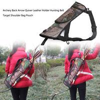 Archery Back Arrow Quiver Leather Holder Hunting Belt Target Shoulder Bag Pouch