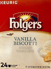 Keurig Folgers Vanilla Biscotti Coffee Keurig K Cup Cups 24 Count BNIB