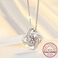Echt 925 Sterling Silber Halskette Kristall Clover Anhänger Damen Schmuck NEU.
