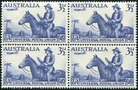Australia 1949 SG232 3½d UPU block MNH