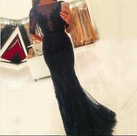 Beaded Lace Mermaid Long Evening Dresses Half Sleeves Appliques Prom Gowns