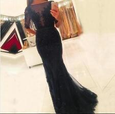 Black Lace Mermaid Long Prom Dresses 2018 Beaded Applique Party Evening Dresses