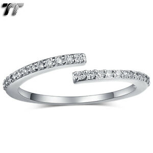 TT 18K White Gold GP Thinner Cuff Band Ring Size 4-8 Pinky (RF108) NEW
