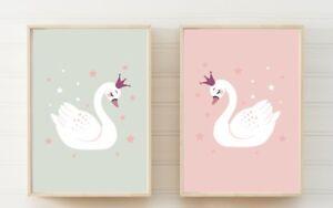 Set of 2 Swan Nursery Bedroom Playroom A4 Poster Prints PO251