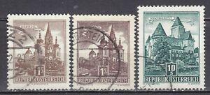 AUSTRIA used 1957 SC# Nr 620, Nr 621, Nr 630  The Buildings