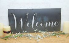 Welcome Sign, Large Metal Welcome Wall Decor,Cursive Welcome Hanging