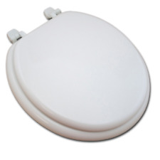 Wooden Toilet Seat - White Round Jones Stephens C001WD00 Solid Heavy Closed NEW