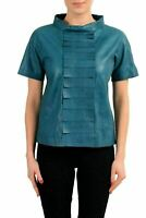 Maison Margiela 1 100% Leather Green Short Sleeve Women's Blouse Top US S IT 40