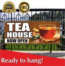 Tea House Now Open Banner Vinyl / Mesh Banner Sign Grand Opening New Store