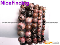 Women Natural Rhodonite Beaded Energy Healing Stretch Jewelry Bracelet Gift Box