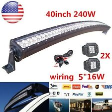 40inch Curved Led Work Light Bar 240W + 2X 4inch 16W Offroad Truck Boat SUV UTE