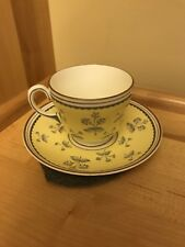 Wedgwood Pimpernel Yellow Tea Cup And Saucer Yellow Gray Flowers Bone China
