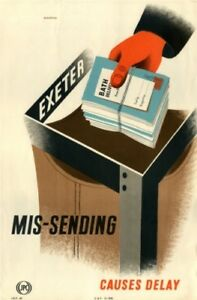 1950's KGVI GPO Information Poster IRP 48 - MIS-SORTING CAUSES DELAY - Eckersley