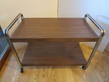 TV Cart Rolling Stand Faux Wood Metal Chrome Mid Century 2 Shelf Mid Century 29""