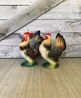 Chalk-ware chickens hen and rooster
