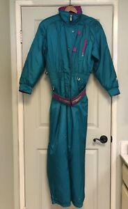 Vintage Retro 80s Fera Skiwear Teal & Purple One-Piece Ski Suit - Womens Size XL