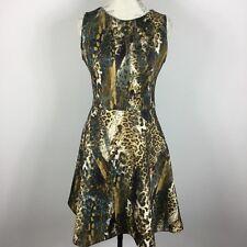 Jennifer Lopez Brown Blue Animal Print Sleeveless Back Zipper Dress Size 6