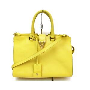 Yves Saint Laurent Hand Bag  Yellows Leather 1134623