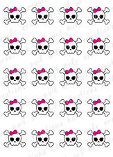 20 Girly Grunge Skull Cross Bones W/ Pink Bow Water Slide Nail Decals Nail Art